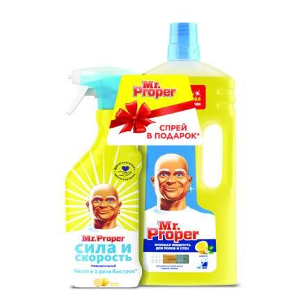 Жидкость для полов и стен Mr.Proper Лимон 1500 мл + чистящий спрей Mr.Proper Лимон 500 мл
