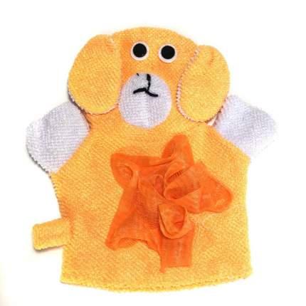 Детская мочалка-варежка в виде зверюшки Comfortable BathLife цв.оранжевый