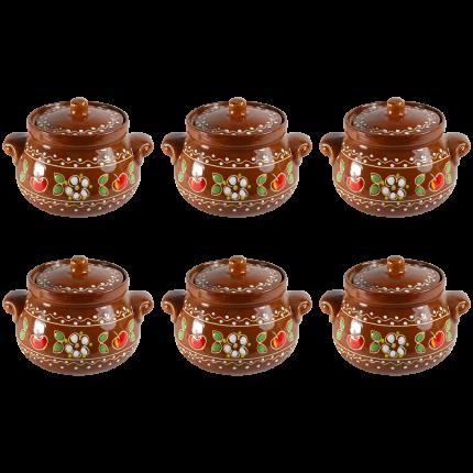 """Комплект горшочков для запекания """"Вишенка"""" Солнечногорская керамика 0,7л. 6шт."""