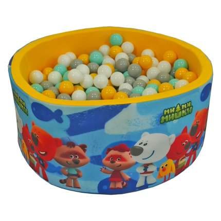 Сухой бассейн Hotenok МиМиМишки Синий с желтым, 100х40 см + 200 шариков