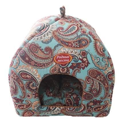 Домик для кошек и собак Родные места Избушка №2 Огурцы, голубой, коричневый, 45x45x53см