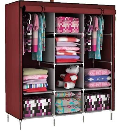 Складной каркасный тканевый шкаф STORAGE WARDROBE 175х130х45 см бордовый