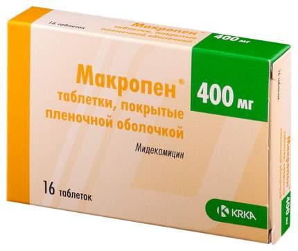 Макропен табл. п.о. 400 мг. №16