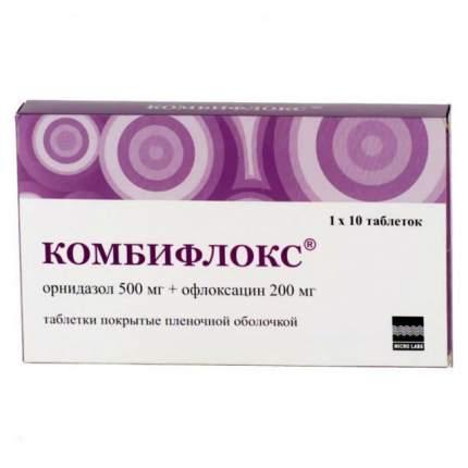 Комбифлокс таблетки, покрытые пленочной оболочкой 500 мг+200 мг №10