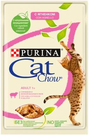 Влажный корм для кошек Cat Chow Adult, с ягненком и зеленой фасолью в желе, 24шт по 85 г