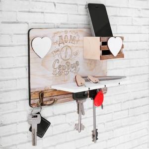 Настенная ключница Сердце, 22 х 16 х 7,5 см