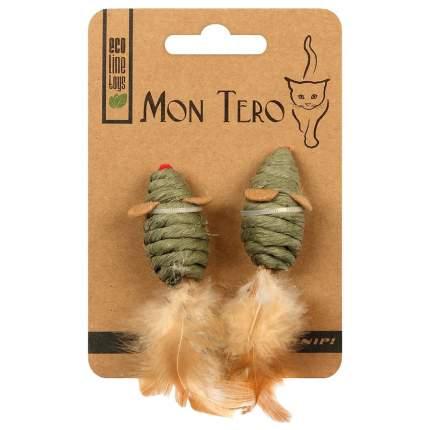 Дразнилка для кошек Mon Tero Мышь мята, перья, зеленый, 5 см, 2 шт
