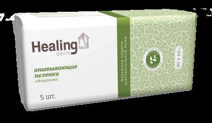 Пеленки ГринЛаб Healing derm одноразовые впитывающие  90*60 5 шт.