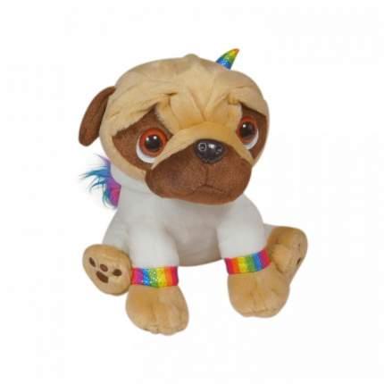 Мягкая игрушка Keel toys Pugsley мопс в наряде радужного единорога, белый, 21 см