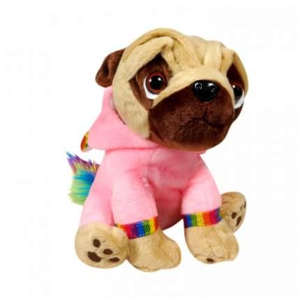 Мягкая игрушка Keel toys Pugsley мопс в наряде радужного единорога, розовый, 21 см