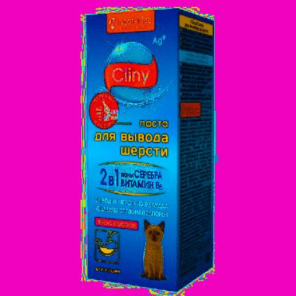 Паста для выведения шерсти для кошек и хорьков Cliny со вкусом лосося 30мл