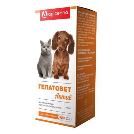 Суспензия для собак и кошек APICENNA ГЕПАТОВЕТ АКТИВ для лечения печени, со шприцем, 50 мл