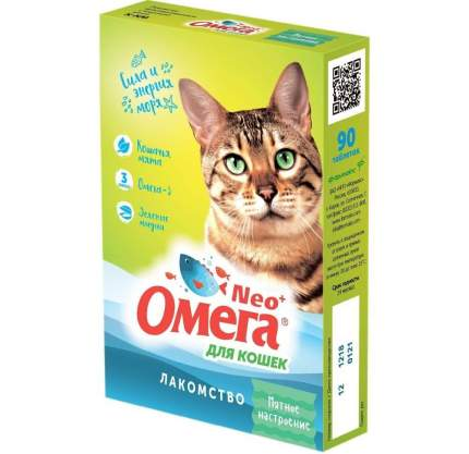"""Витаминный комплекс для кошек Омега NEO+, Морские водоросли """"Крепкое здоровье"""" 90 таб"""