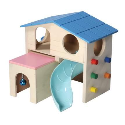 Игровой комплекс для грызунов Triol пластик, дерево, синий, розовый, бежевый 15х16х17см