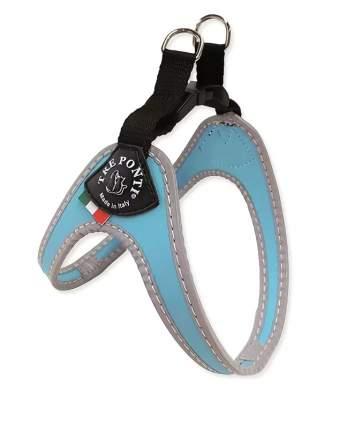 шлейка для животных до 3 кг светоотражающая голубая