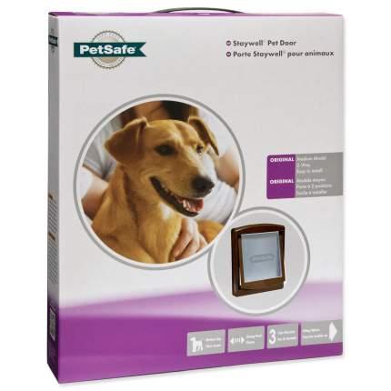 дверка пластиковая для животных, коричневая рама, прозрачная дверца 28,1*23,7 см