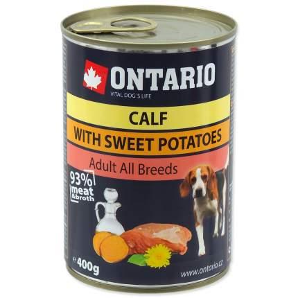 Консервы для собак Ontario,  телятина, кортофель, одуванчик, льняное масло, 400г