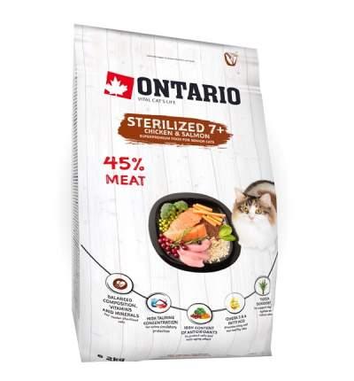 Сухой корм для кошек Ontario Sterilised 7+, курица, рыба,  2кг