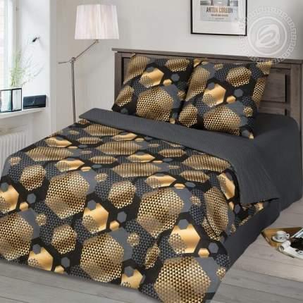 """Постельное белье """"Альберт 500"""" (золото на черном) 1,5-спальное"""