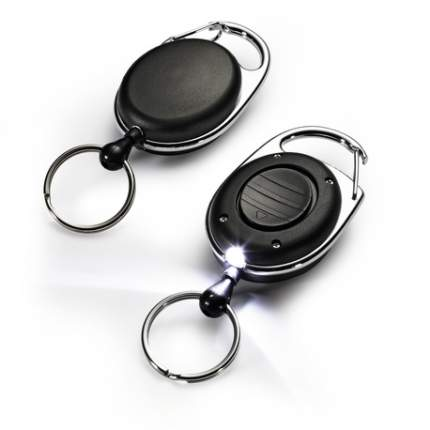 Durable Рулетка с фонариком для ключей /черная D8198-01