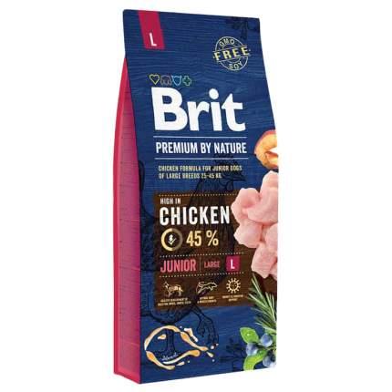 Сухой корм для щенков Brit Premium By Nature Junior L, для крупных пород, курица, 15кг