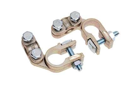 Комплект клемм АКБ медь, прижимная планка ((левое -), (правое +)) до 50 мм SBT008 STARTVOL