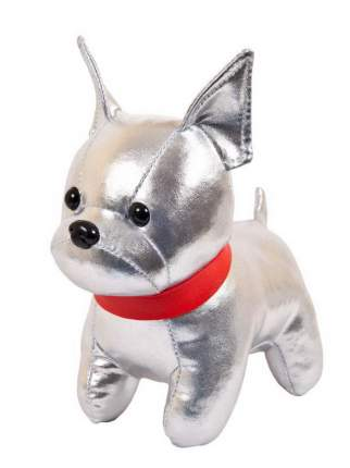 Мягкая игрушка Junfa toys Металлик Собака французский бульдог серебристый, 15 см