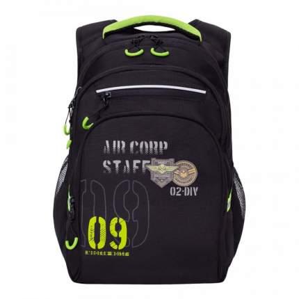 Школьный рюкзак Grizzly для мальчика RB-050-2/1 черный - салатовый
