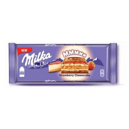 Шоколад Milka Strawberry Cheescake Молочный с клубникой печеньем со вкусом чизкейка 300г
