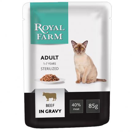 Влажный корм для кошек ROYAL FARM Adult Sterilized, говядина в соусе, 85г