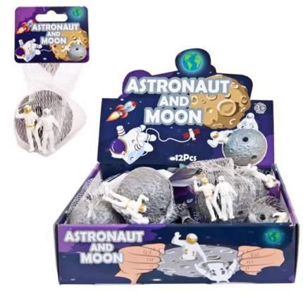 Игрушка-антистресс Junfa toys Тянучка Астронавты на луне, 5,5 см.