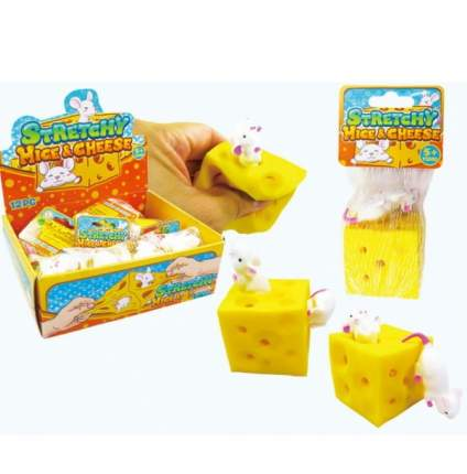Игрушка-антистресс Junfa toys Тянучка Мышка с куском сыра