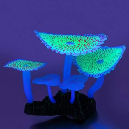 Искусственный коралл Gloxy Кораллы зонтичные, флуоресцентный, зеленый, 14х12х6.5 см