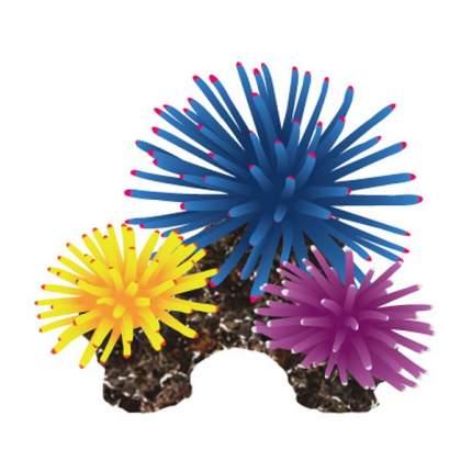 Искусственный коралл Fauna International, синий, желтый, фиолетовый, 10х8х6 см