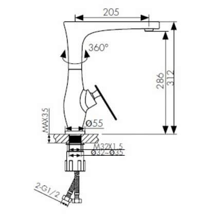 Смеситель для кухонной мойки Kaiser 02044-2