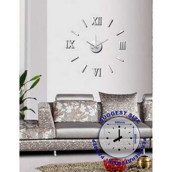Часы настенные на клейкой ленте, 60 см, матовый хром
