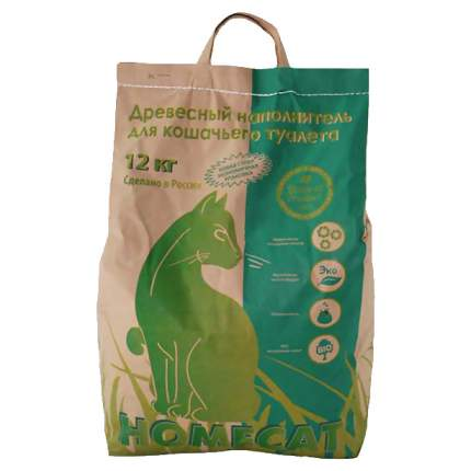 Впитывающий наполнитель для кошек HOMECAT древесный, мелкие гранулы, 12 кг, 40 л