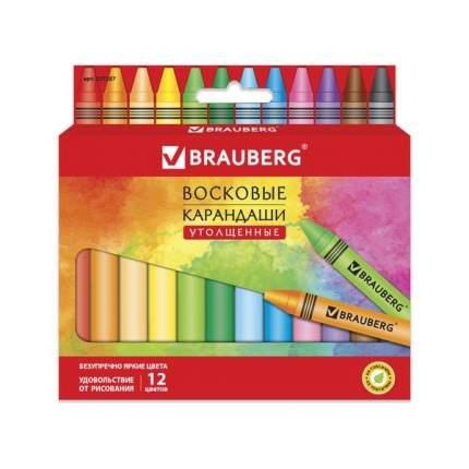 Восковые карандаши утолщенные Brauberg Академия, 12 цветов
