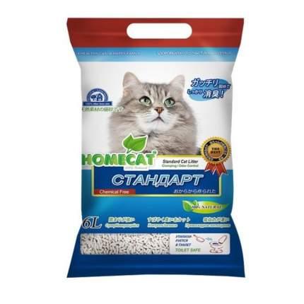 Наполнитель для кошачьего туалета HOMECAT Эколайн Стандарт, комкующийся, 6л, 2,81кг