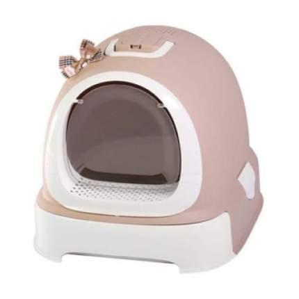 Туалет для кошек №1 Фэнтези, прямоугольный, коричневый, белый, 55х42х43 см