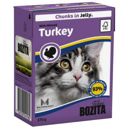 Консервы для кошек BOZITA Feline Chunks In Jelly, с рубленой индейкой в желе, 370г