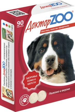 Витаминный комплекс для собак Доктор ZOO Здоровье кожи и шерсти, 90 таб