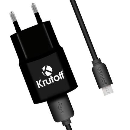 Сетевое зарядное устройство Krutoff CH-01M 1xUSB, 1A + кабель micro USB (black)