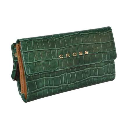 Кошелек Cross Bebe Coco, кожа наппа, зелёный/рыжий, 19,5х10,5х3 см