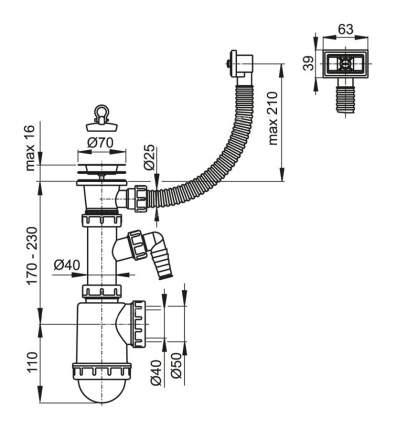 Сифон для мойки с нержавеющей решеткой AlcaPlast (A444PPR,50/40)