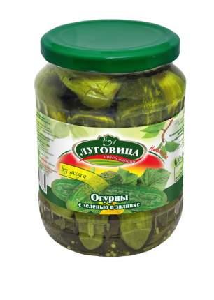 Огурцы Луговица консервированные с зеленью в заливке на лимонке 680 г