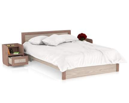 Полутороспальная кровать с тумбами Мебельный Двор Аврора 1400 ясень шимо тёмный/светлый