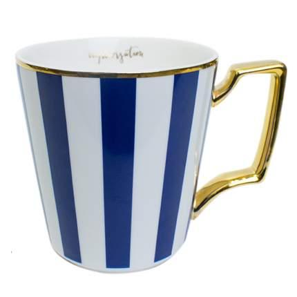 Кружка c синими полосами и золотистой ручкой, белая, MARMA  MM-CUP-11