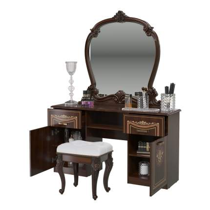 Стол туалетный Мэри-Мебель Грация орех тайский, 144х41х188 см + 47х36х51 см