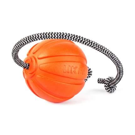 Мячик со шнуром для собак мелких и средних пород LIKER Cord, оранжевый, 7 см